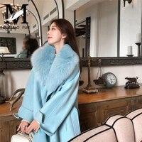 Женское кашемировое пальто зимнее шерстяное пальто с большим лисьим меховым воротником осеннее кашемировое длинное пальто женское