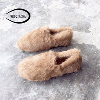 WEIQIAONA 2018 New Rabbit Hair Comfortable Simple Fashion Winter Women Shoes Casual Flat Round Toe Ladies Shoes Walking Shoes