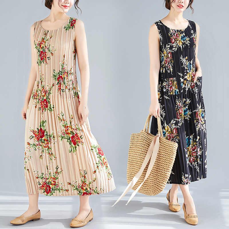 1c268d45090e ... Summer Dresses Women Floral Print Stretch Pleated Wild Plus Size Vintage  Tank Dress Female Lady Fashion ...
