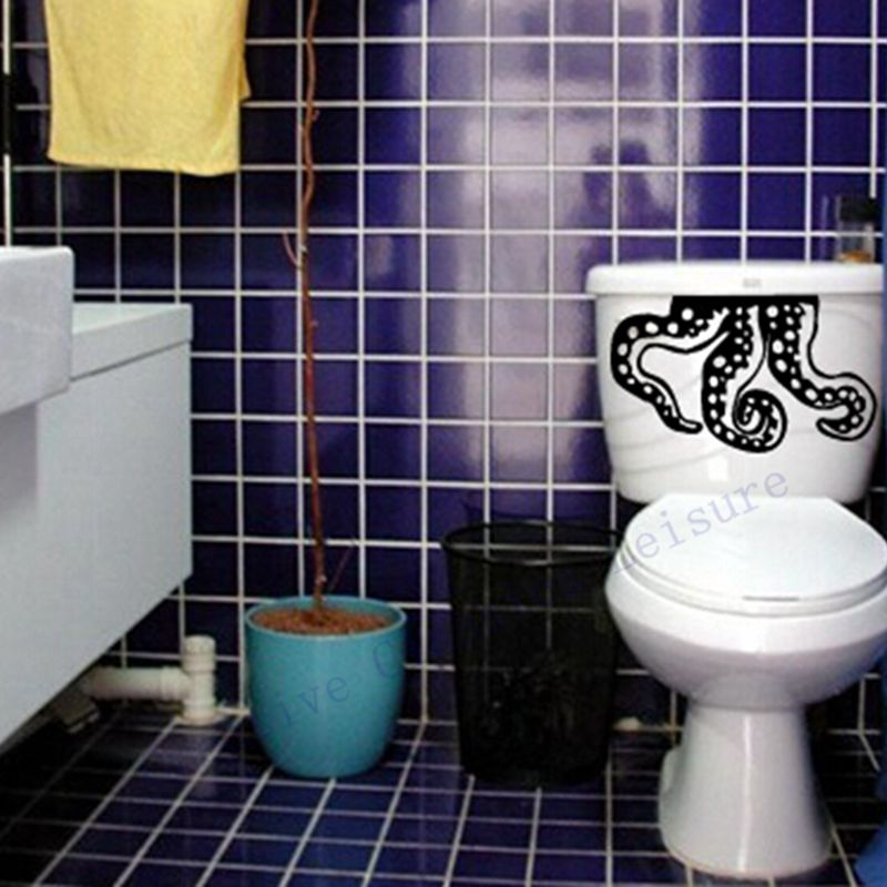 Cool Bathroom Vinyl sticker nail picture - more detailed picture about vinyl octopus