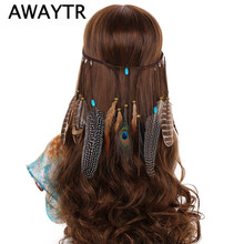 AWAYTR Women Fashion Indian Hair Rope Hippie Headband Headdress Peacock Feathers Hair Ornaments Hair Bands For Women Gifts