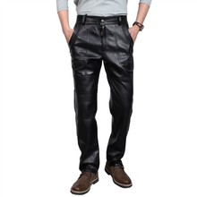 Winter Male Genuine Leather Pants Add-cotton Thickening  Windproof Thermal