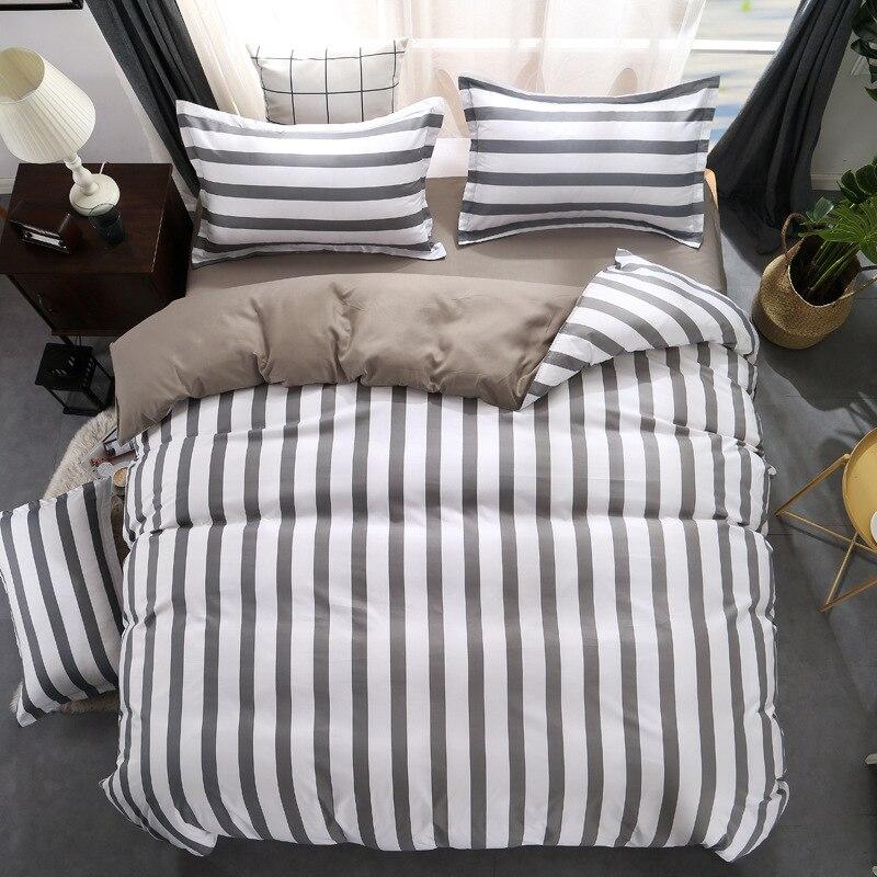 Черный белый серый классический комплект постельных принадлежностей полосатый пододеяльник белый комплект постельного белья Геометричес...