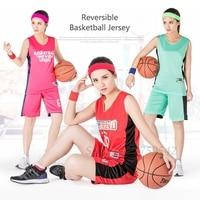 2017 Reversible Women Basketball Jersey Shirt + Short Basketball Suit Team Match Jersey Custom Name Number Logo