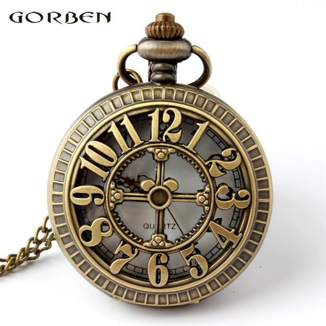 Bronze Vintage Numbers Quartz Pocket Watch Pendant Hollow Cartoon Mouse Chain Wa