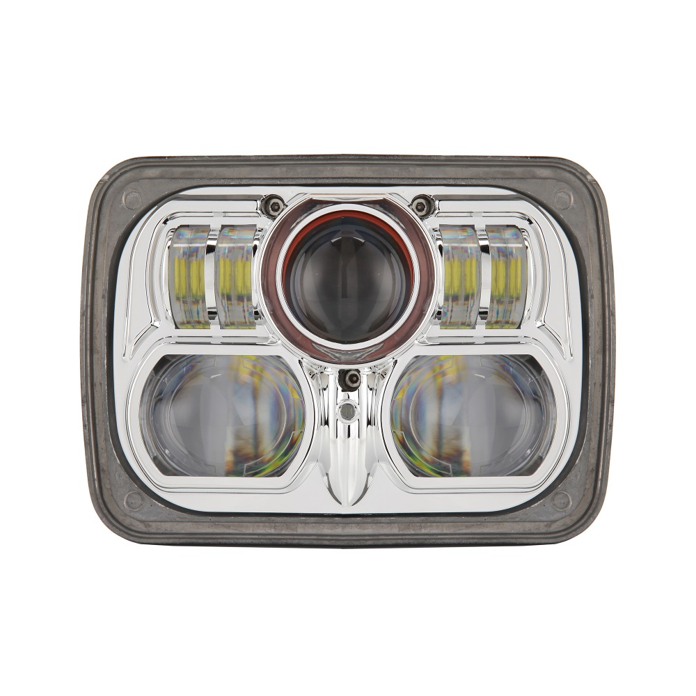 Pair of Universal Fit 7 x 6 54W Square High Low Beam LED Projector Headlight 7X6