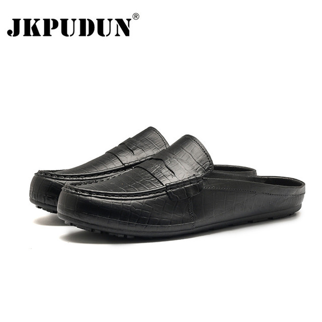 JKPUDUN Summer Mens Shoes Casual Half Slippers Loafers