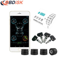 Smart Bluetooth 4.0 TPMS Systems Car Tire Pressure Monitoring System APP Display 4 Internal/External Sensors Support Android IOS