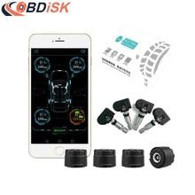 Coche inteligente Bluetooth 4.0 Sistema de Monitoreo de Presión de Los Neumáticos TPMS Pantalla APP 4 Interna/Externa Sensores Soporte Android IOS
