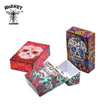 HORNET бабочка и череп пластиковая коробка для табачных сигарет карманный размер 95 мм* 60 мм чехол для сигарет крышка Держатель для сигарет