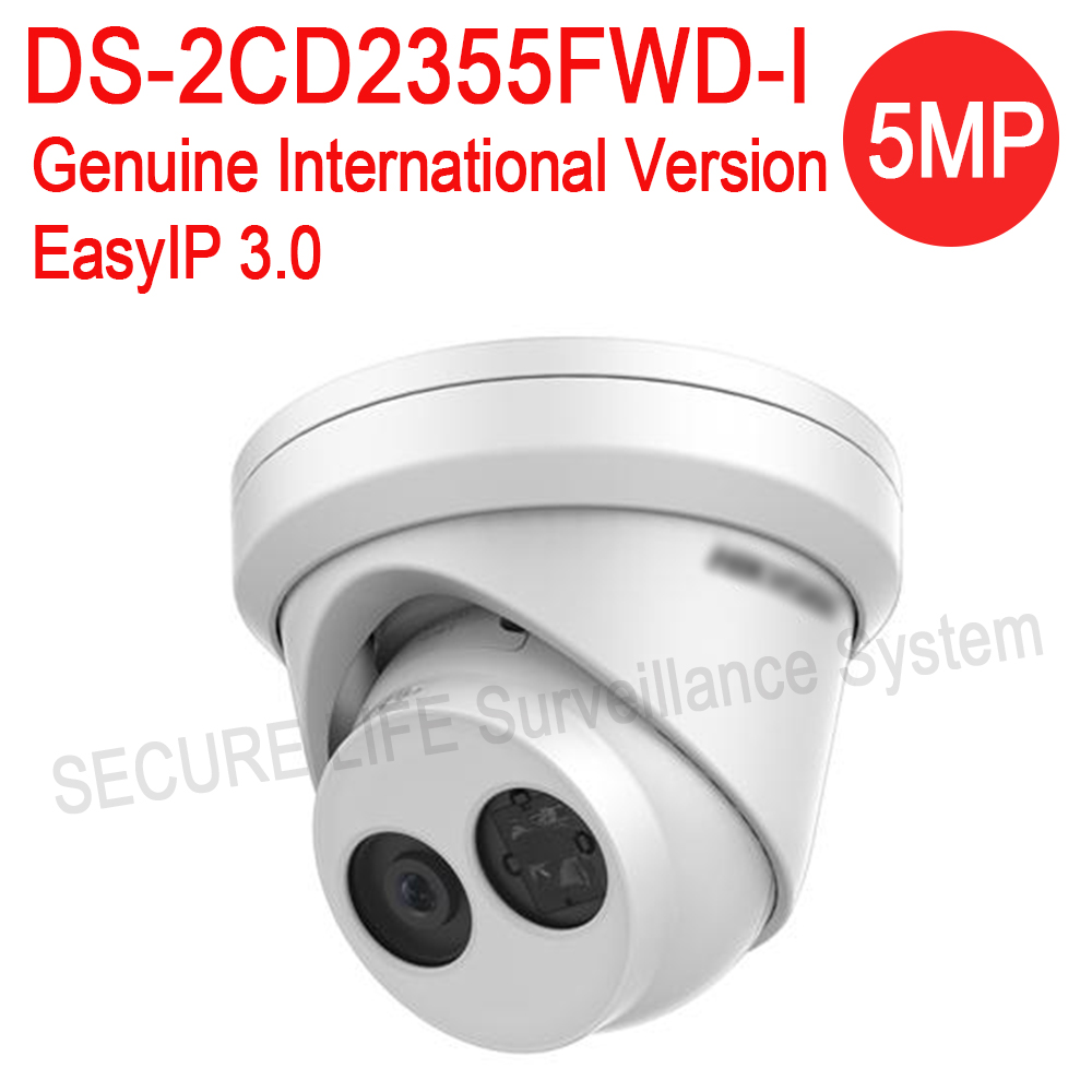 DHL Free shipping English version DS-2CD2355FWD-I 5MP mini network turret cctv IP camera POE, 30M IR, H.265 dome security camera