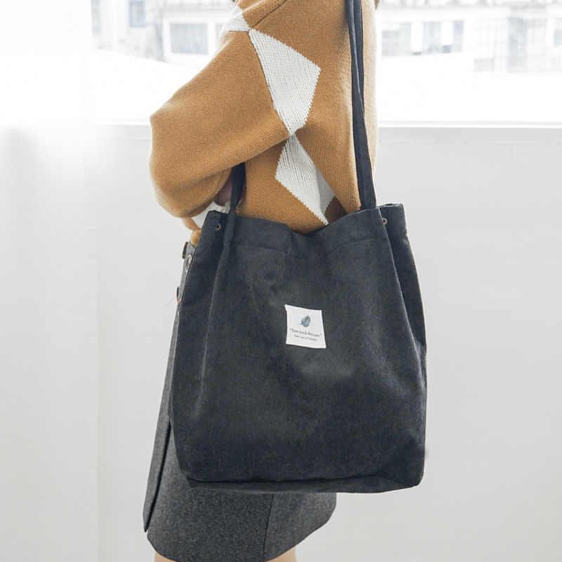 Vrouwen Canvas Draagtas 2019 Corduroy Winkelen Vrouwelijke Eco Doek Handtas Grote Vrouwen Vouwen Schouder Herbruikbare Opvouwbare Shopper Tassen