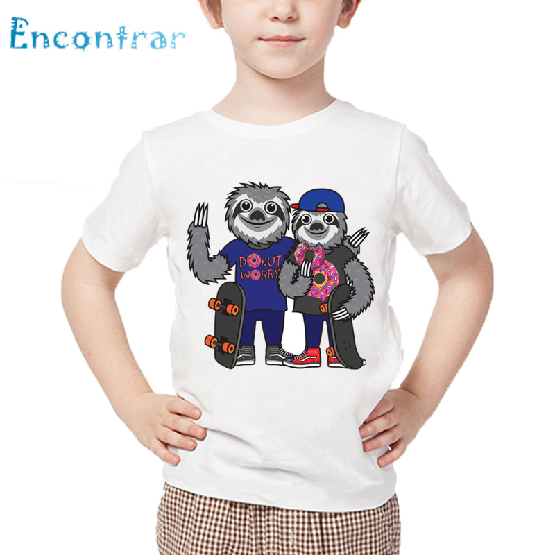 100% Quality Kids Hip Hop Swag Fashion Sloth Donut Print Funny T Shirt Baby Summer White Tops Boys And Girls Cartoon T-shirt,hkp5570 Pure And Mild Flavor