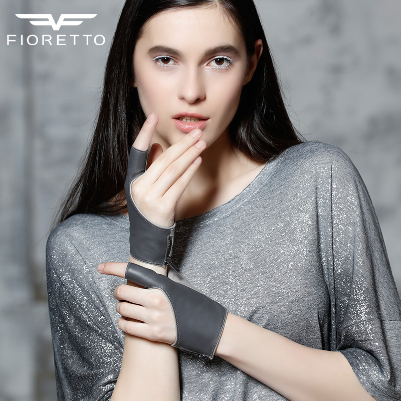 Fioretto Fashion Brand Damen Fingerlose Lederhandschuhe Half Finger - Bekleidungszubehör - Foto 3