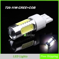 11W T20 CREE Chip R5 + COB Chip with Lens LED Brake Light, W21/5W Car Backup Light Wedge Lamp 7443 Tail Lights Free Shipping