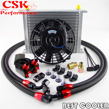 "30 Row -8AN AN8 engine Transmission Oil Cooler + 7"" Electric Fan Kit  Blue / Black"