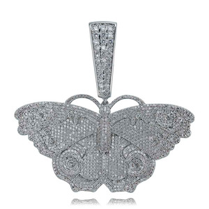 Image 4 - JINAO Hip Hop Gold Butterfly Pendant Necklace Micro Pave Zircon Iced Out Animal Jewelry Man Women Gift