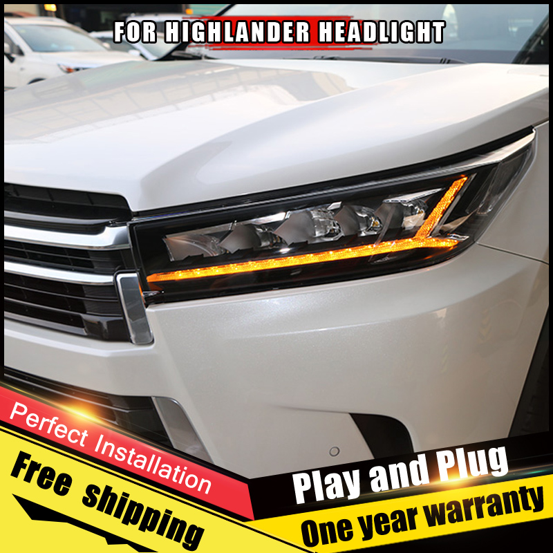 2PCS Car Style LED headlights for Toyota Highlander 2018 for head lamp LED DRL Lens Double Beam H7 HID Xenon bi xenon lens стоимость