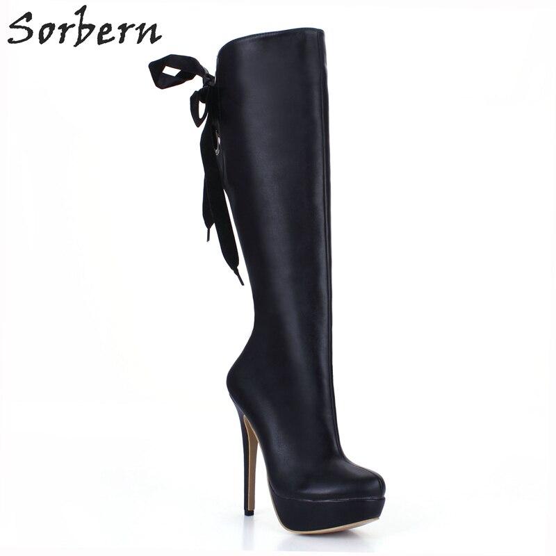 Sorbern Black Lace-Up Back Women Boots Shoes Womens 2018 Gothic Black Punk Women'S Winter Shoes Custom Colors Platform Boots black sequins embellished open back lace up top