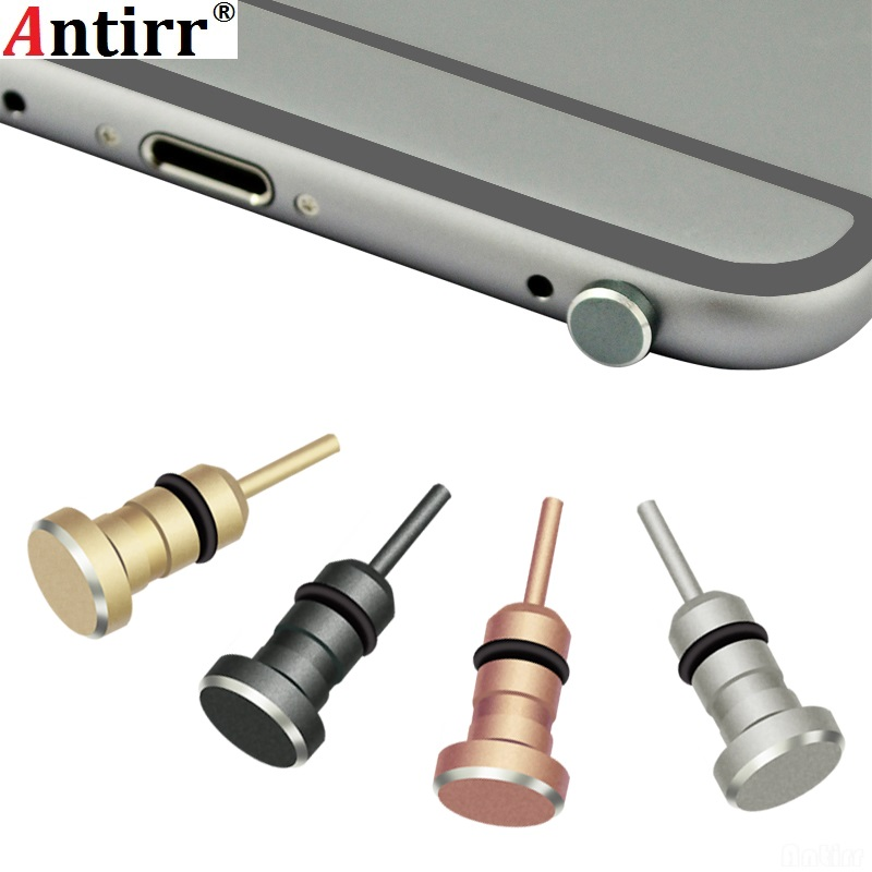Antirr Metal 2 In 1 Phone Sim Card Tray Eject Pin Tool 3.5mm Earphone Jack Anti Dust Plug Dustproof Cap For Apple IPhone Xiaomi
