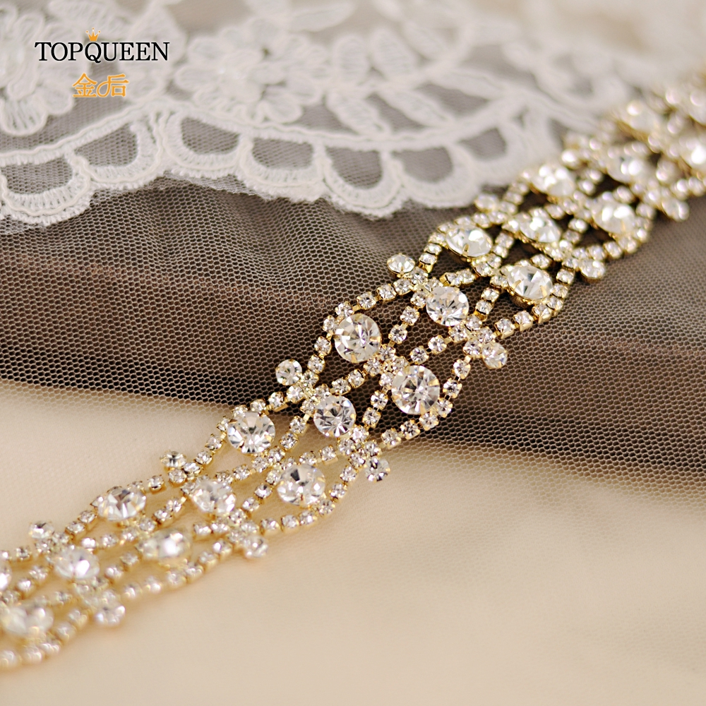 TOPQUEEN S414 Wedding Belts Golden Silver Rhinestone Wedding Dress Belt Handmade Crystal Belt Formal Bridal Ribbon Sash Belt