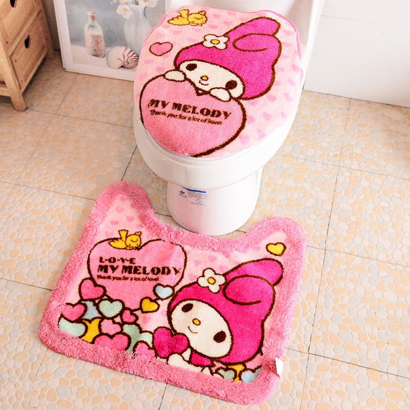Hellokitty New Toilet Seat Cover Cartoon Bathroom Lid Mat Tissue Bag Set
