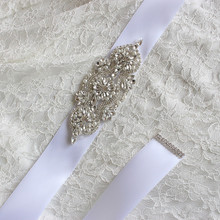 Gorgeous Clear Crystal Wedding Sash Belt For Brides Satin Ribbon Clear Glass Rhinestones Beaded Bridal Sash Belts Cheap