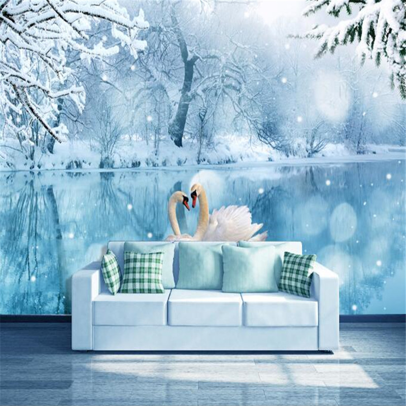 custom modern 3d photo wallpaper fashion snow swan lake 3D bedroom living room TV background wall painting wallpaper home decor modern simple romantic snow large mural wallpaper for living room bedroom wallpaper painting tv backdrop 3d wallpaper