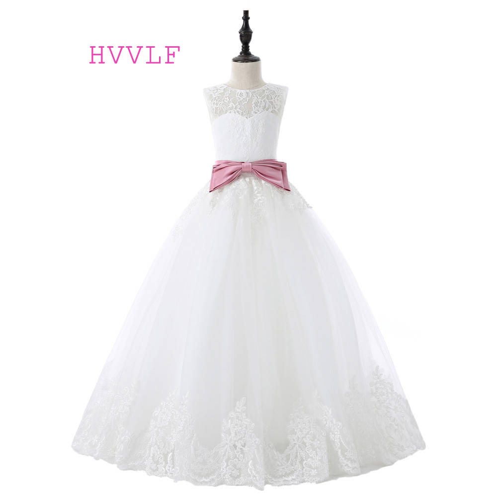 Ivory 2019   Flower     Girl     Dresses   For Weddings Ball Gown Cap Sleeves Bow Tulle Lace First Communion   Dresses   For Little   Girls