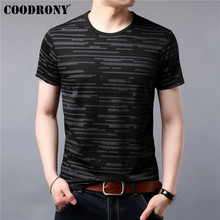 COODRONY Casual T Shirt Men Fashion Striped Short Sleeve T-Shirt Summer Cotton Tee Homme Mens O-Neck T-Shirts S95044