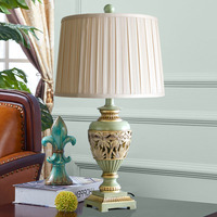 Table Lamp Green And Gold Carved Desk Deco Lamp For Bedroom Resin Bed Lamp Deco Home Mariage Maison Luminaria SMCW028
