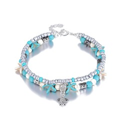 LKO Shell Perlen Seestern Fußkettchen Vintage-Schmuck Böhmen Armband & Armreifen Lange Ethnische Charme Armbänder Für Frauen Pulseras