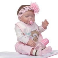 Full silicone reborn baby dolls NPK brand children fashion dolls toys 20 50cm soft dolls can enter water with pacifier bottle