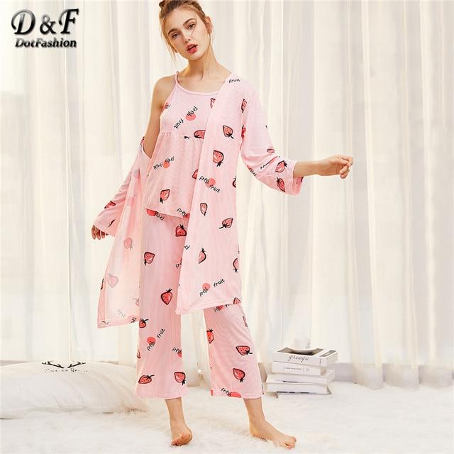 85ea8c3954b2a5 R$ 113.32 |Dotfashion Impressão Morango Conjuntos de Pijama 2019 Primavera  Alcinhas Cami Mangas Pinstriped Mulheres Dos Desenhos Animados Pijamas em  ...