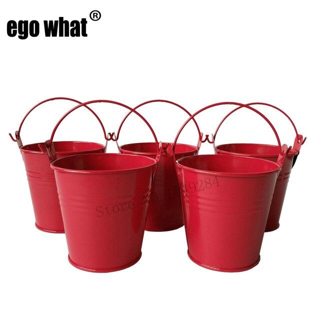 D7 5 H7 5cm Red Mini Pail Metal Buckets Cute Meat Plant Pot