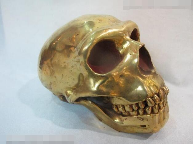 Tibet Sacred 100% Pure Bronze 24K Gold Skull To Avoid The Evil Spirits Statue