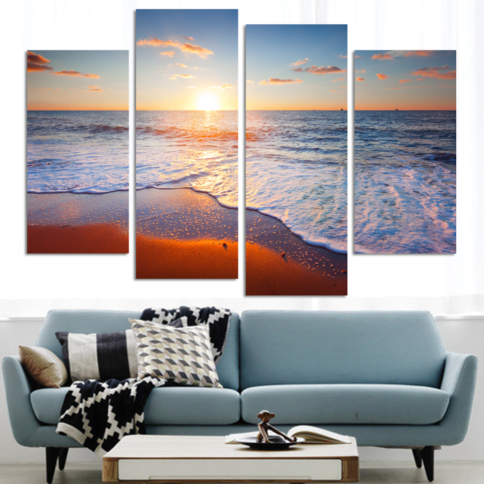 2017 Rushed Hot Sale Cheap Prints On Canvas Modern Seaview Painting 4 Pieces Wall Art Waterfall Bamboo Pictures Home Decor
