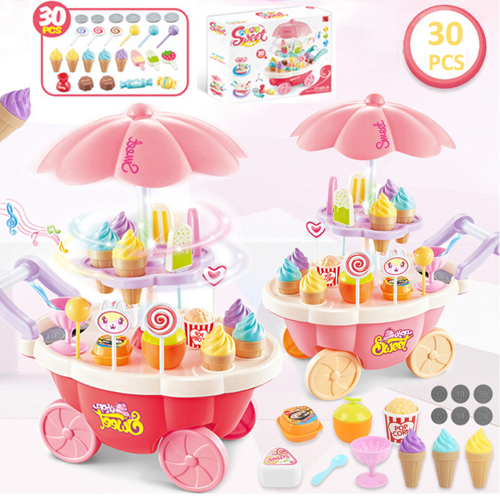 30PCS/SET Children Role Play House Toys Simulation Shopping Cart Girls Toys Rotaing Icecream Candy Car With Light And Music