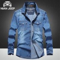 Nian AFS JEEP 3xl 4xl 5xl Plus Size Denim Shirt Autumn Casual Full Sleeve Denim Shirt