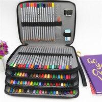 Da PU Trường Chì 184 Lỗ Công Suất Lớn Màu Túi Đựng Hộp Đa năng Pencilcase Cho Nghệ Thuật Tiếp Liệu quà Tặng