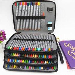 Escola Caixa de Lápis de Couro PU 184 Furos Pencilcase Saco de Grande Capacidade de Lápis de cor Caixa de Multi-funcional Para Fontes Da Arte presente