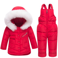 2018 Baby Girl Winter Clothes Sets Hooded Kids Down Jacket Overalls Jumpsuits Snow Wear Children Boys Clothing 1 2 3 Years