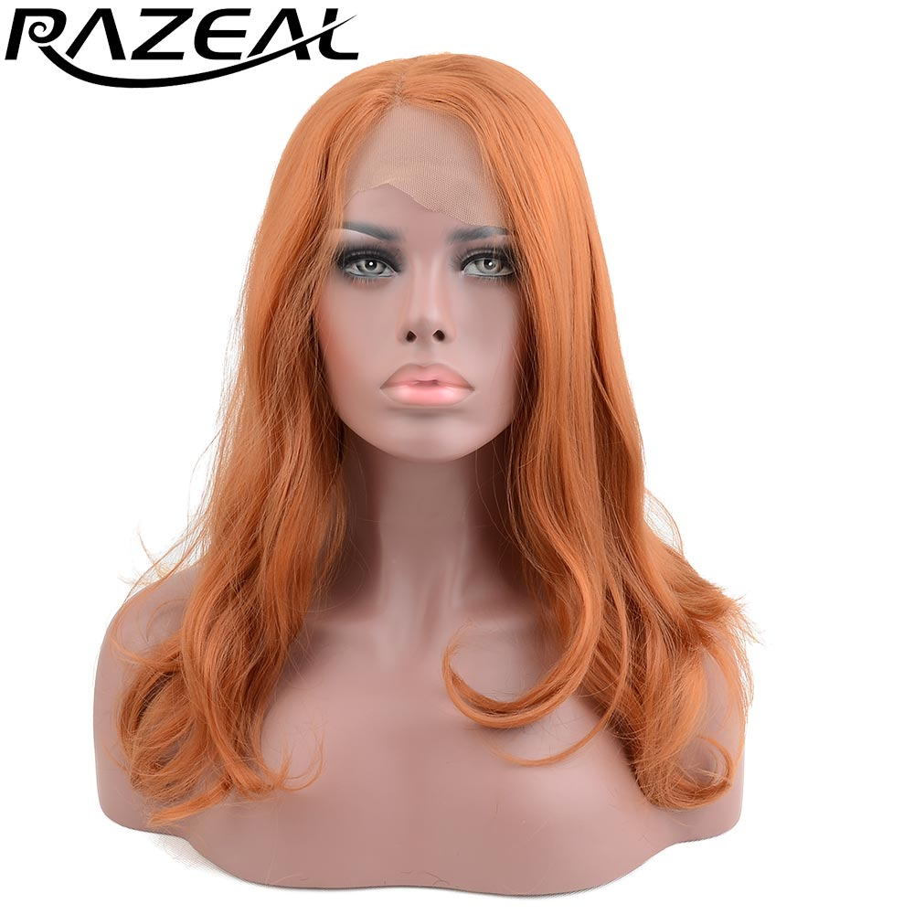 Razeal натуральный коричневый Цвет длинные волнистые синтетические Синтетические волосы на кружеве парики термостойкого волокна с л часть