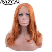 Razeal Natural Brown Color Long Wavy Synthetic Lace Front Wigs For Black Women Heat Resistant Fiber With L Part