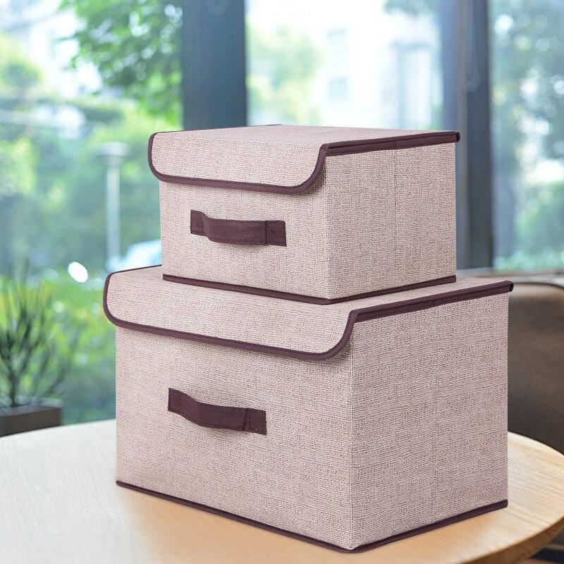 New Linen Storage Box Foldable Clothing Socks Bra Storage Box Large  Capacity 2 Size Grocery Storage Box Cosmetics Organizer