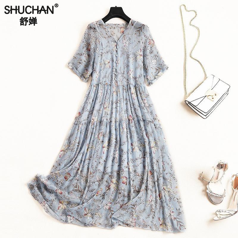 Shuchan robe d'été lâche imprimé bouton mi-mollet v-cou robes avec imprimé Floral en mousseline de soie nouveaux arrivants 2019 10995