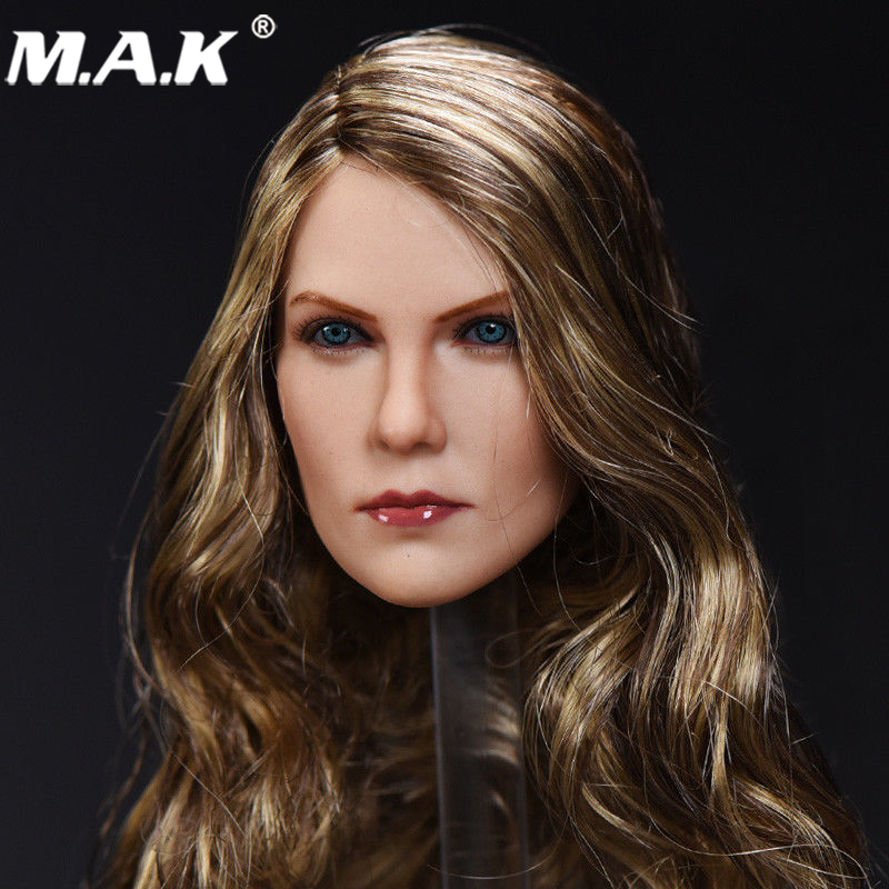 1:6 Brown Curls Hair Charlize Theron Head Carving Model for 12 inches Action Figure Body kumik 15 23 1 6 scale head carving shape model for 12 phicen action figure doll crazy max 4 charlize theron furiosa toys