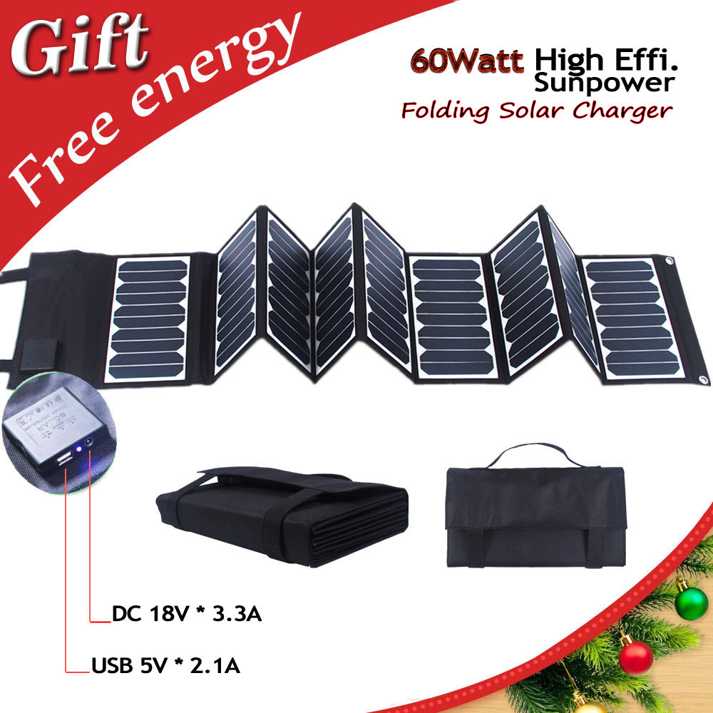 Prix pour Haute Efficacité 23.5% 60 W Sunpower pliant le panneau solaire portable chargeur solaire pour ordinateur portable/tablet/batterie de voiture/téléphones cellulaires