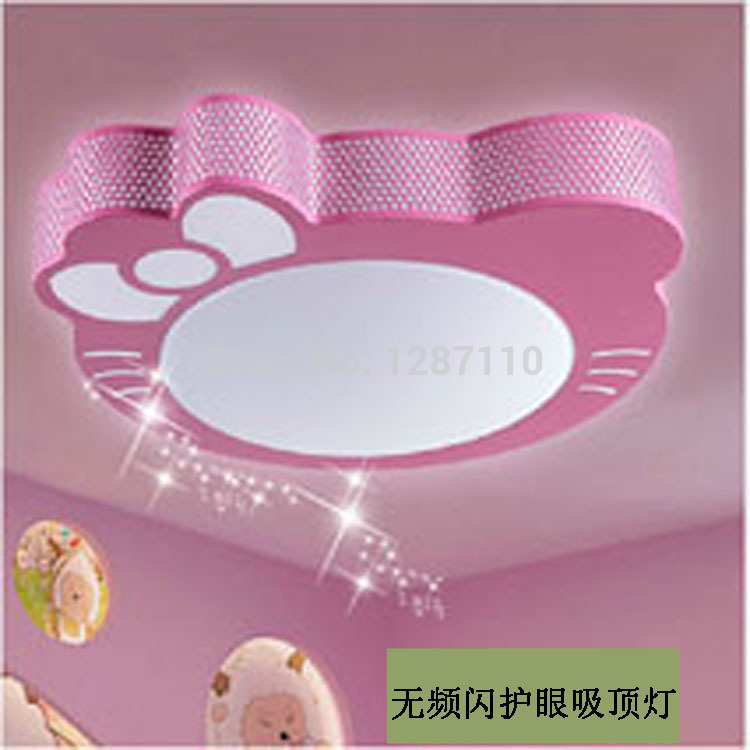 Cute Kitty cat cartoon led ceiling light lamp for child reading room bedroom children's room eye protection LED ceiling abajur new cute hello kitty led ceiling light lamp for simple creative cartoon boys girls bedroom ceiling lights children reading room