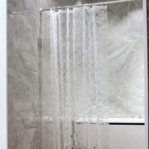 Image 5 - EVA Square Shower Curtain For Transparent Thickened Shower Curtains 3D Bathroom Curtain Moldproof Waterproof Bathroom Supplies